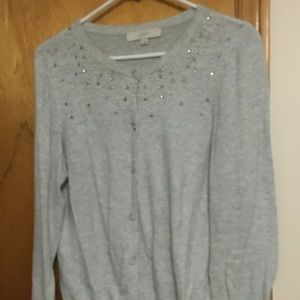 Grey, Embellished Cardigan Sweater